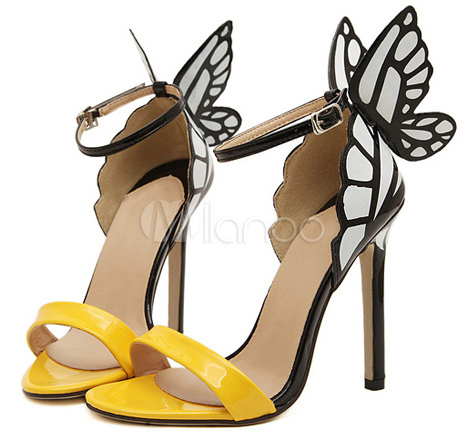 high heel butterfly shoes