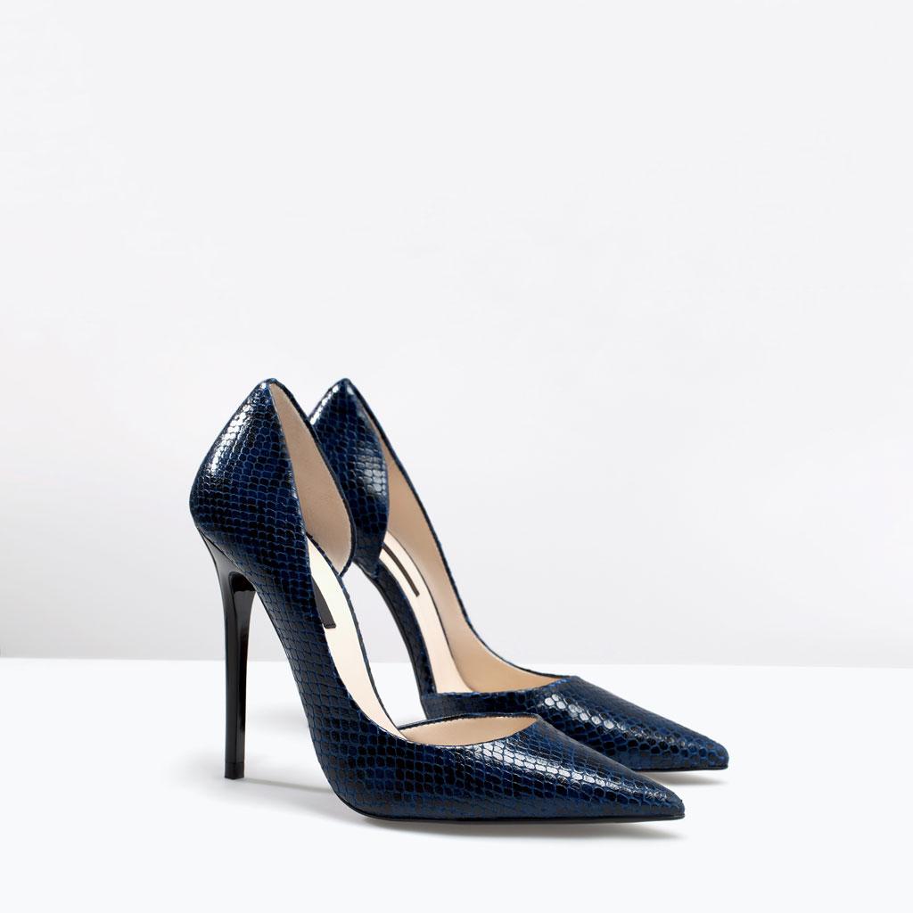 7524b21dc Animal Print Pumps Blue Snakeskin High Heel Pumps Zara ...
