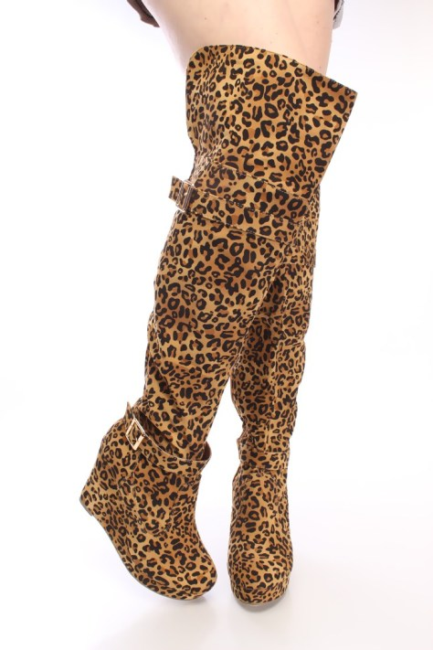 Leopard print wedge boots