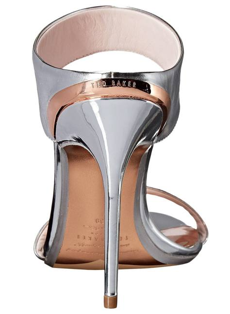 silver double strap metallic mules