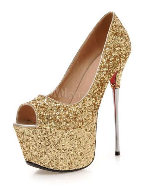 Gold platform high heels