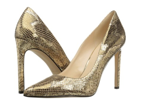 gold nine west pumps