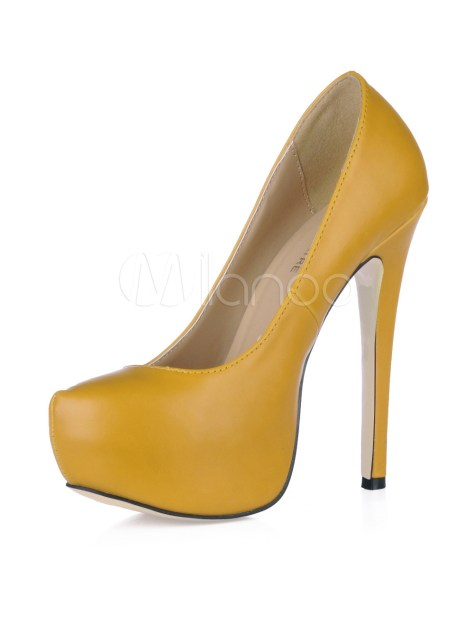 yellow stiletto platform pumps