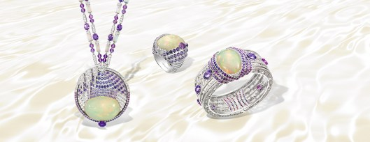 Lumières d'Eau necklace in white gold, diamonds, amethysts, violet sapphires, opal and one cabochon-cut white opal; Lumières d'Eau ring in white gold, diamonds, violet sapphires and one cabochon-cut white opal, and Lumières d'Eau bracelet in white gold, diamonds, violet sapphires and one cabochon-cut white opal.
