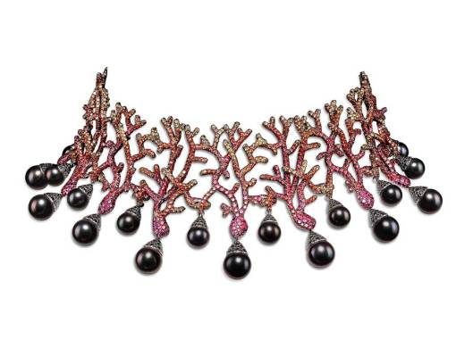 Giampiero Bodino Tesori del Mare Vesta Collection necklace in yellow and white gold with black rhodium plating, with yellow and orange sapphires, rubies, Tahitian cultured pearls and red and black spinels.