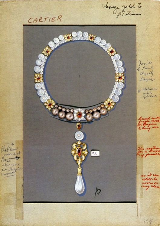 La Peregrina pearl, Cartier setting drawing. In red are Elizabeth Taylor's own remarks.