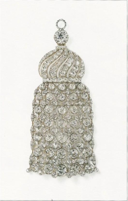 Pendentif Cartier Paris vers 1905, or, argent, diamants ronds taille ancienne.