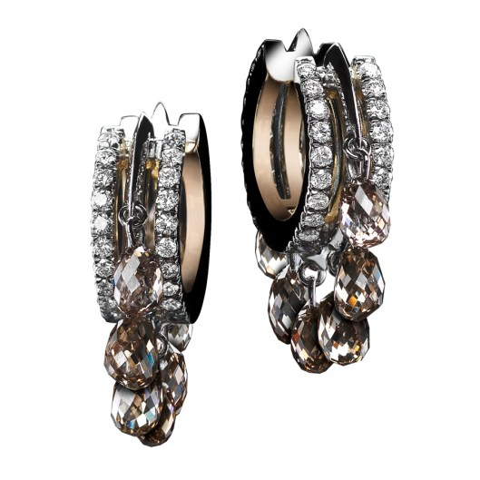 Champagne Diamond-Briolette Hoop Earrings Close-fitting Oval-shape Diamond hoop earrings with 14 champagne Diamond-briolettes of 3.20 TCW, sit snugly on the ear. Alexandra Mor's signature details of 'floating' Diamond melee and knife-edged wire. 18-karat white gold set around a band of 1mm 18-karat yellow gold. Signed by artist. Crafted in the USA. Limited-Edition 1/25