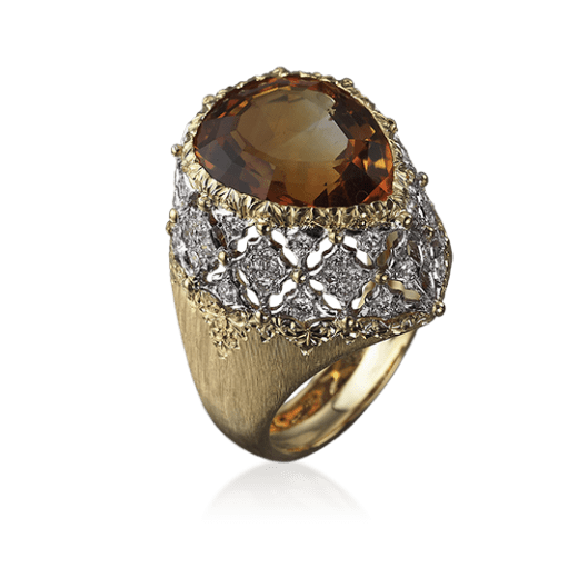 Musone Cocktail Ring in Yellow and white gold with Citrine and diamonds