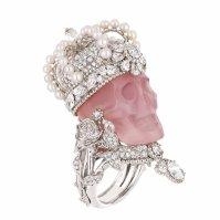 """Dior Joaillerie """"Reine de Quartzie"""" pink skull ring. Platinum, diamonds, pink quartz and fine pearls."""