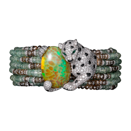 High Jewellery Panthère de Cartier Bracelet. White gold, opal, chrysoberyls, emeralds, onyx, brown diamonds, diamonds