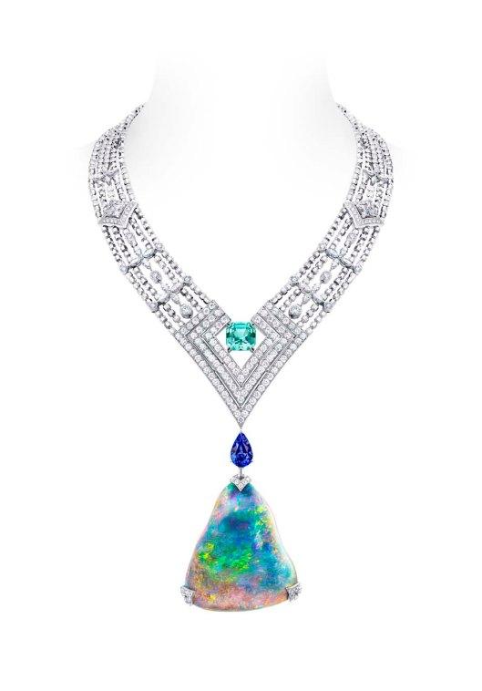 Louis Vuitton Acte V Genesis necklace featuring a 87.92ct Australian black opal and Vuitton's signature star-cut diamonds