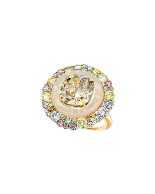 Tiffany ring with a fancy deep brownish greenish yellow diamond and an opal in platinum and 18 karat yellow gold