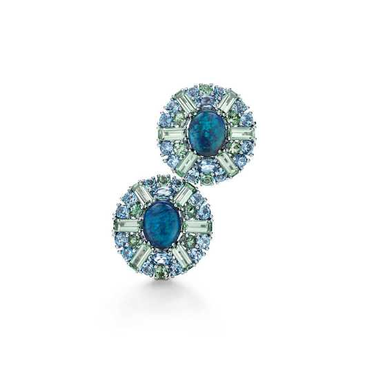 Tiffany & Co. Black Opal earrings. Earrings of black opals, green tourmalines and aquamarines in platinum. Carat total weight: baguette green tourmalines, 3.72; black opals, 3.56; round aquamarines, 2.94; round green tourmalines, 1.40; oval aquamarines, .85.