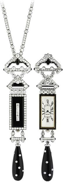 Cartier Art Deco Watch Pendant. Yellow gold, platinum, enamel, onyx, diamonds.