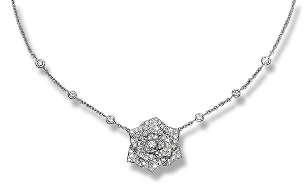 Piaget Rose pendant in 18K white gold, set with 118 brilliant-cut diamonds (approx. 2.86 ct).
