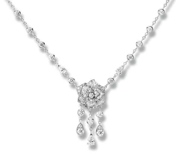 Piaget Rose necklace in 18K white gold, set with 3 pear-cut diamonds (approx. 0.75 ct) and 111 brilliant-cut diamonds (approx. 3.18 ct).