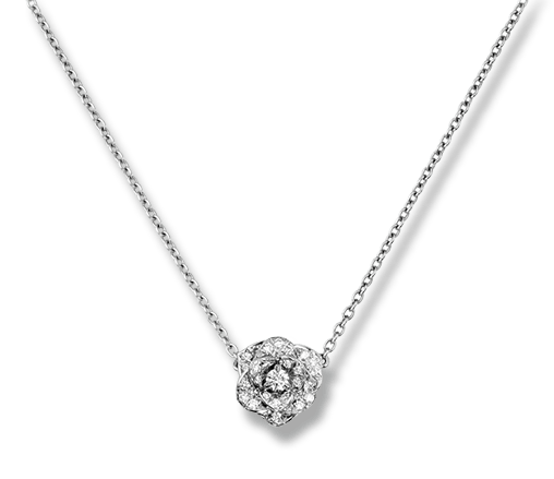 Piaget Rose pendant in 18K white gold, set with 36 brilliant-cut diamonds (approx. 0.23 ct).