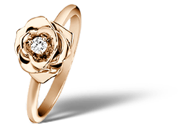 Piaget Rose ring in 18K rose gold, set with a brilliant-cut diamond (approx. 0.06 ct).