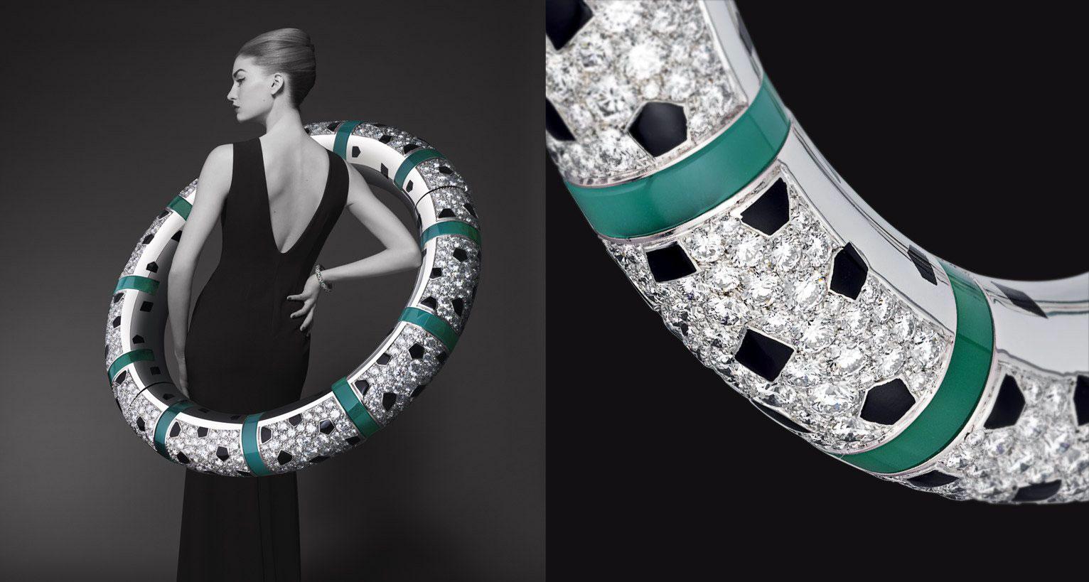 Bracelet in white gold, onyx, black laquer, chrysoprase, diamonds.