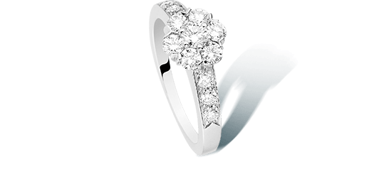 Fleurette ring, white gold and diamonds
