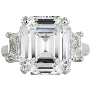 9.01 Carat Emerald Cut GIA Cert Diamond Platinum Engagement Ring