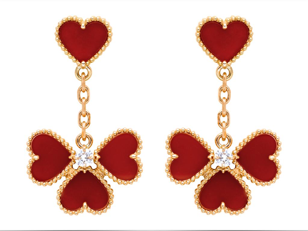 Sweet Alhambra effeuillage earrings, pink gold, carnelian, round diamonds 0.18ct.