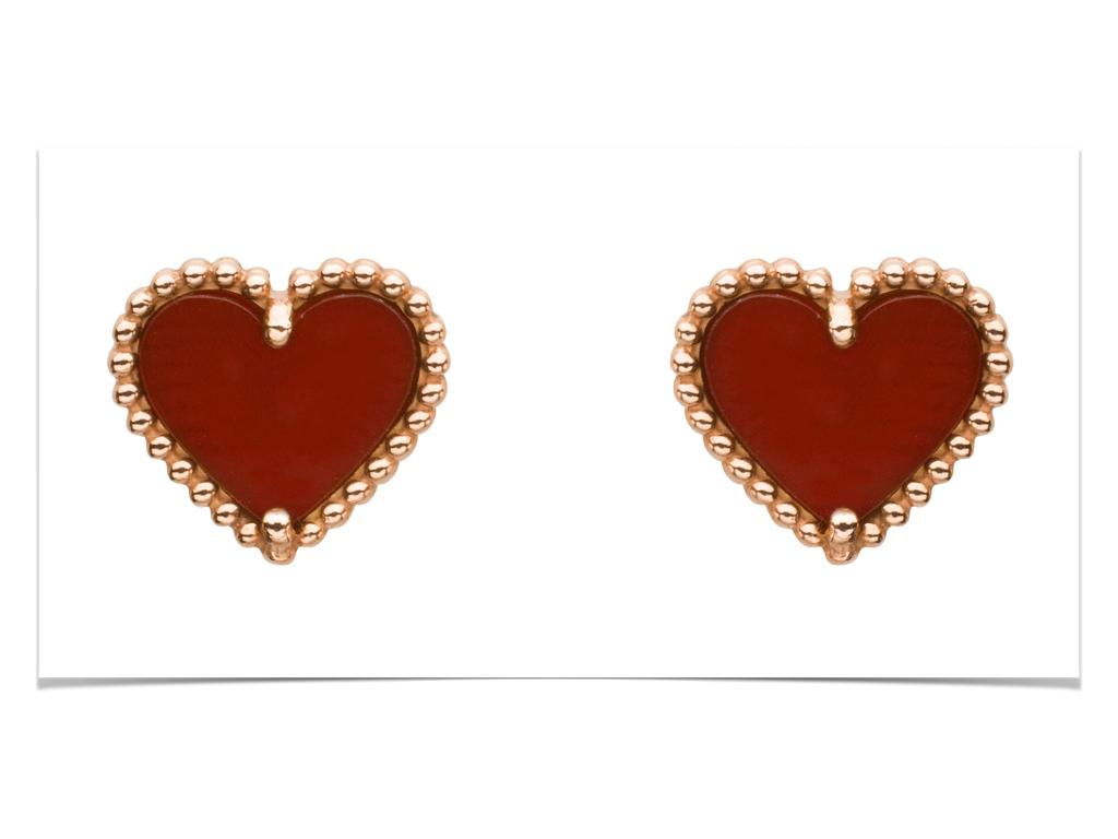 Sweet Alhambra heart earstuds, pink gold, carnelian.