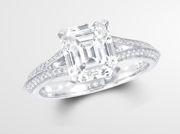 Legacy Emerald Cut diamond ring: a parted-shank, dusted with diamonds is a signature Graff style - its design encourages