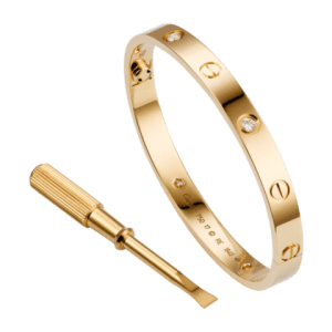 The A bracelet is a flat bangle studded with screws that locks to the wrist. Opened and fastened with a screwdriver, the piece serves to sanctify inseparable love. This one in the picture is in 18K pink gold and set with 4 diamonds