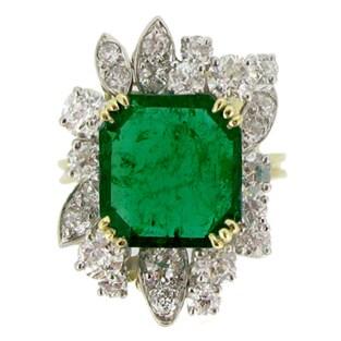 French Emerald Diamond Gold Platinum Cluster Ring circa 1950
