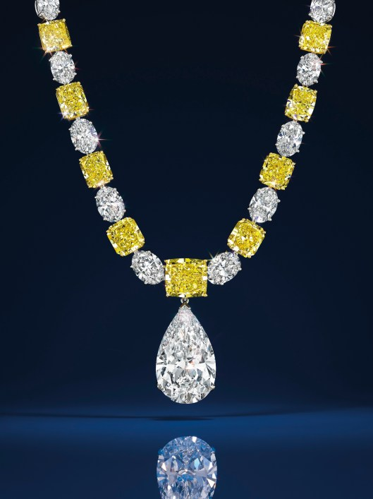 A colored diamond and diamond necklace, by Graff. Estimate $500,000 - 700,000. A pear-shaped D-color potentially internally flawless diamond pendant of 25.49 carats. Estimate $2,500,000 - 3,500,000.