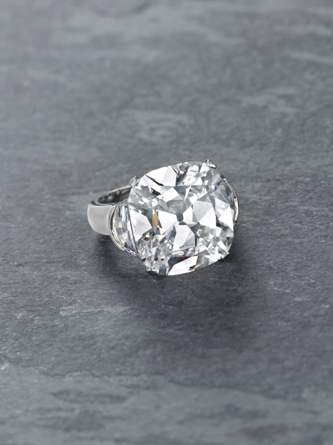 A cushion-cut D-color potentially internally flawless diamond of 11.03 carats, by Graff. Estimate $750,000 - 1,000,000.