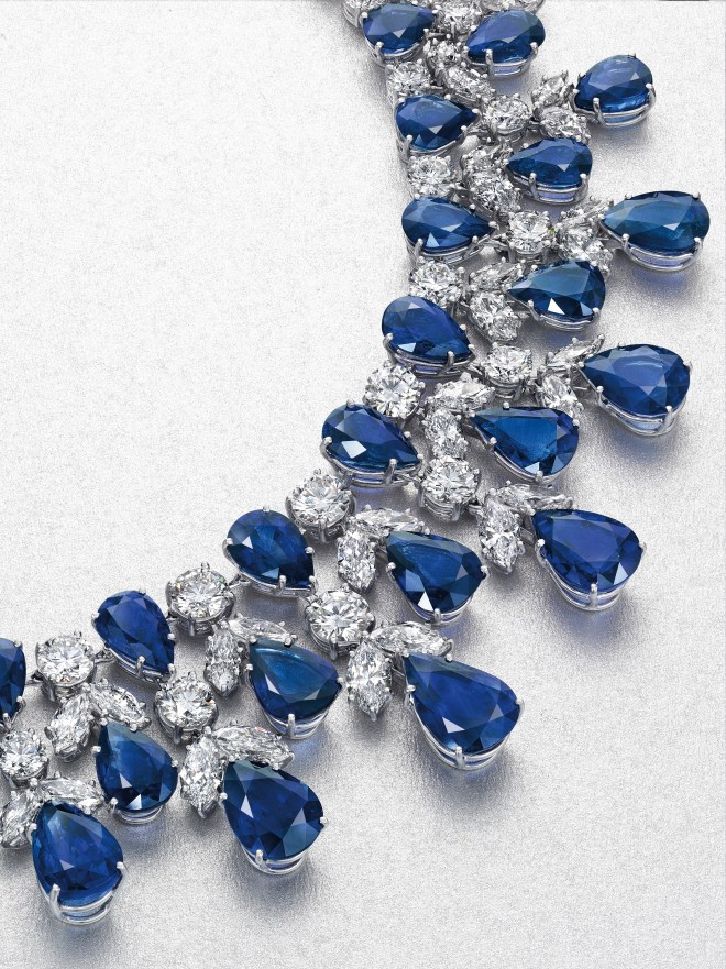 A sapphire and diamond necklace, by Graff. Estimate $250,000 - 350,000.