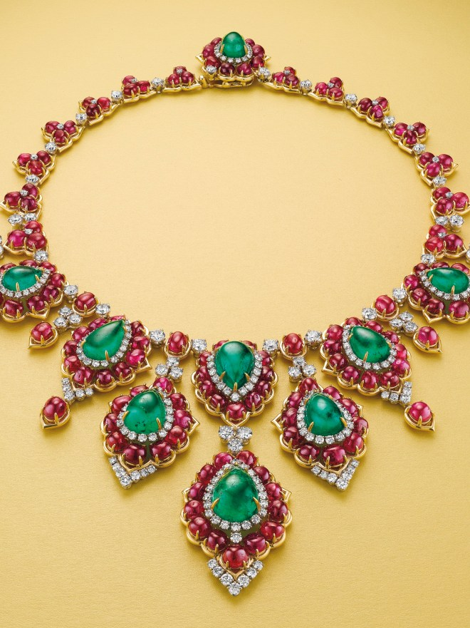 A superb emerald, ruby and diamond necklace, by Bulgari. Estimate $300,000 - 400,000.