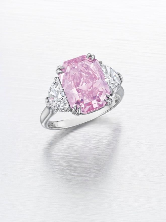 A fancy intense purplish pink diamond of 5.29 carats. Estimate $3,500,000 - 5,000,000.