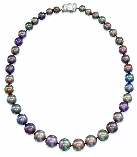 The Cowdray Pearls. Composed of a single row of thirty-eight graduated natural grey pearls, measuring 11.4-6.8mm, to the rectangular mixed-cut diamond clasp, 43.2cm long.