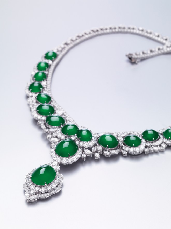 Jadeite Cabochon and Diamond Necklace