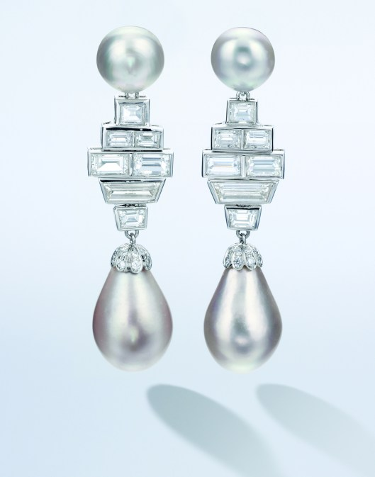 Pair of Natural Saltwater Pearl and Diamond Pendent Earrings_CMYK