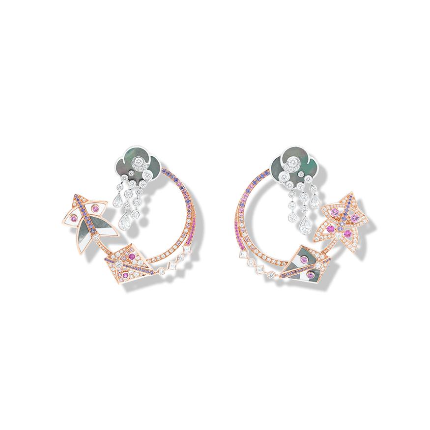 Cerfs-Volants hoop earrings. in pink gold, pink and mauve sapphires, white gold, white and grey mother-of-pearl and diamonds.