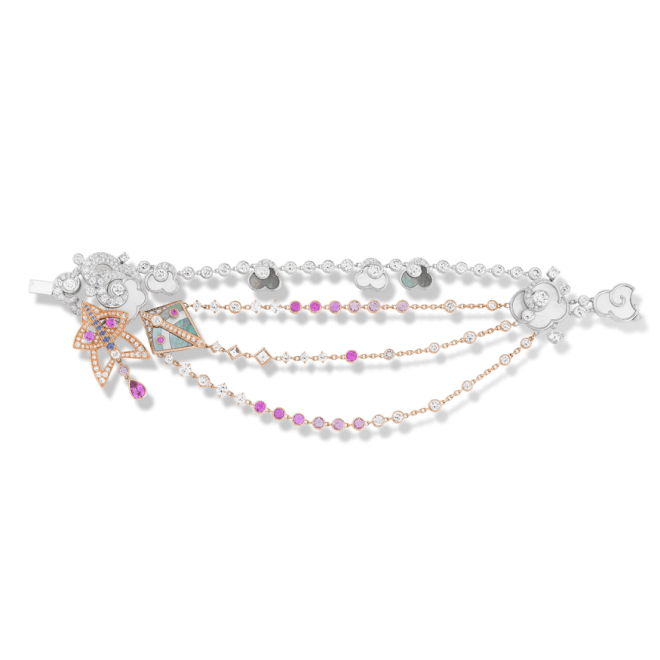 Cerfs-Volants bracelet, small model. Virtuoso jewelry techniques embellish a lively, bold and poetic aesthetic on this bracelet in pink gold, pink and mauve sapphires, white gold, white and grey mother-of-pearl and diamonds.