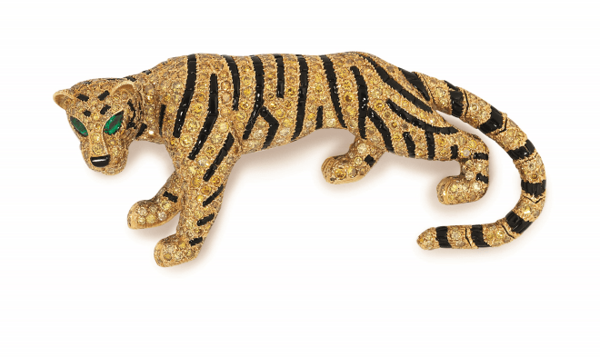 A coloured diamond and onyx 'Tiger' brooch, by Cartier Estimate: £50,000 - 80,000