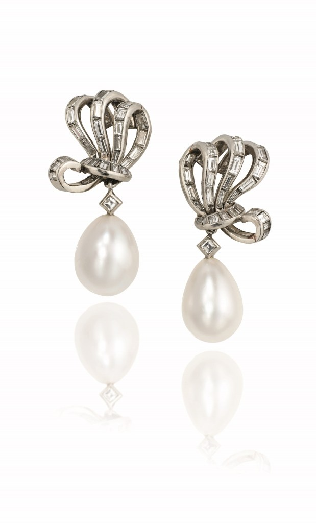 A pair of fine natural pearl and diamond ear pendants Estimate: £130,000 - 180,000