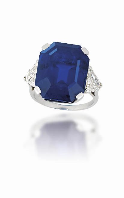 A single-stone sapphire ring. Estimate: £200,000 - 300,000