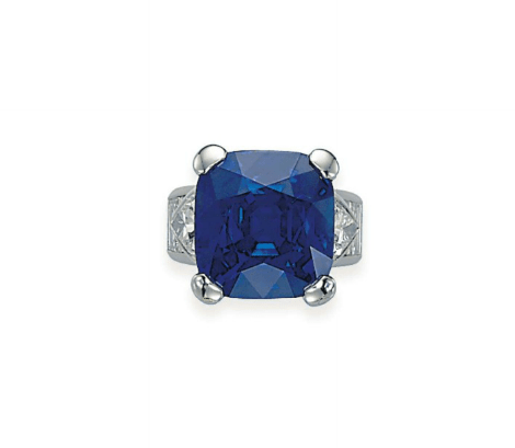 Cushion-shaped Kashmir Sapphire, set with triangular-cut diamond shoulders and baguette-cut diamond hoop, mounted in gold