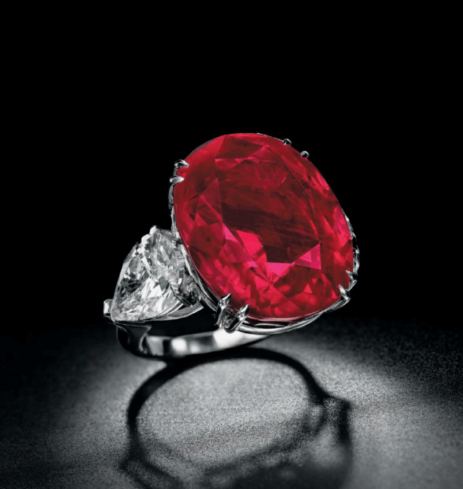 A cushion-shaped Burmese Ruby Ring.