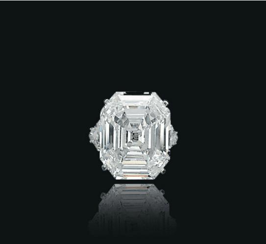 Rectangular step-cut D colour SI1 Type IIa diamond ring.