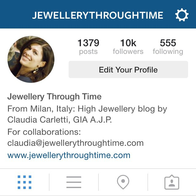 Jewellery Through Time reaching 10k followers on Instagram.