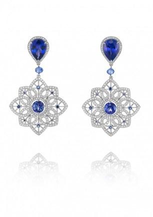 """Tanzanite, Sapphire and Diamond """"Byzantine"""" Set - earrings."""