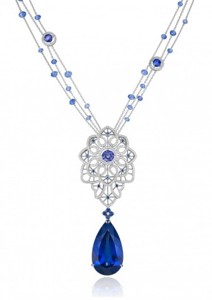 """Tanzanite, Sapphire and Diamond """"Byzantine"""" Set - necklace"""